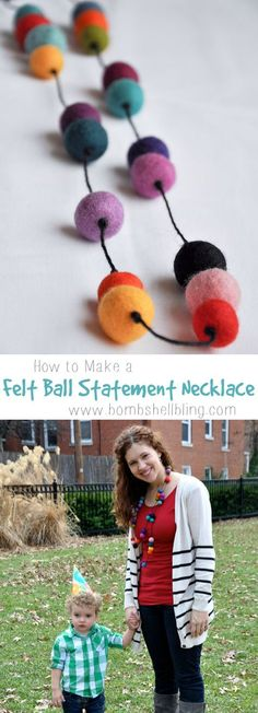 How to Make a Felt Ball Statement Necklace Tutorial