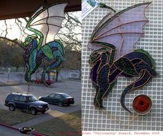 Stained glass dragon Incense burner <br> Made using Tiffany Method, jewelry findings and mirror glass <br>