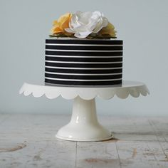 When a florally white wedding cake is just not for you. This black white stripe wedding cake is amazing, especially if you ditch the flowers on top.