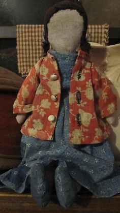 prim rag doll - love her little jacket