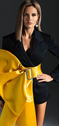 Black N Yellow, Black And White, Black Colors, Yellow Fashion, Mustard Seed, Daily Look, Unique Fashion, Evening Dresses, Fashion Photography