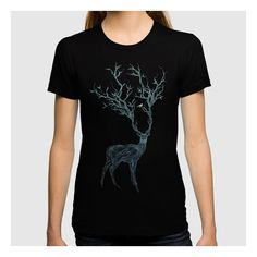 Blue Deer T-shirt ($27) ❤ liked on Polyvore featuring tops, t-shirts, blue t shirt, blue top, blue tee and deer t shirt