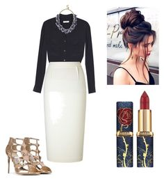 """Navy Fab"" by katharine-hagan on Polyvore featuring Equipment, Roland Mouret, BaubleBar and Jimmy Choo"