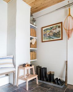 "Space saving can also mean fitting the functionality of a whole room, in a carved out corner of an existing space, like this clever mudroom setup. // From ""Pinterest Predicts the Top 10 Home Trends of 2016"" on Lonny"