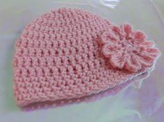 FREE Crochet Patterns: Free EASY Crochet Baby Hat Pattern with Crochet Flower