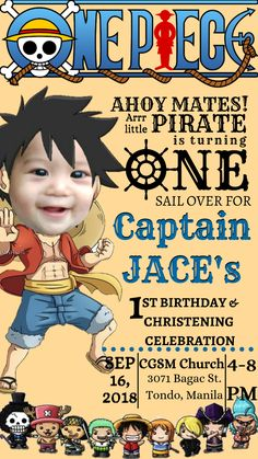 Pirate Birthday Invitations, Free Printable Birthday Invitations, One Piece Birthdays, Baby Boy Scrapbook, Monkey D Luffy, One Piece Anime, Birthday Celebration, Christening, Projects To Try