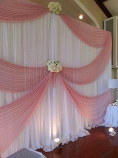 Blush pink ceremony backdrop. #blushpink #ceremonydecor #backdrop #bling Reception Backdrop, Wedding Ceremony Decorations, Birthday Photo Frame, Birthday Photos, Wedding Stage, Shutterfly, African Dress, Draping, Blush Pink