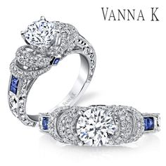 """""""The details are not the details.  They make the design."""" Style no #18RGL00188SDCZ #VannaK #wedding #diamond #ring #bride #sapphire"""