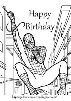 Spiderman colouring pages. Find here free printable Spiderman coloring pages for kids. Donwload and color marvel, Green Goblin, Peter Parker and Spiderman drawing pictures Superhero Coloring Pages, Spiderman Coloring, Coloring Pages For Boys, Cartoon Coloring Pages, Free Printable Coloring Pages, Coloring Book Pages, Coloring Sheets, Coloring Birthday Cards, Happy Birthday Coloring Pages