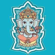 "Check out my art piece ""Hindu elephant head God Lord Ganesh. Lord Ganesha, Arte Ganesha, Jai Ganesh, Indian Gods, Indian Art, Indian Style, Illustrations, Graphic Illustration, Elefante Hindu"