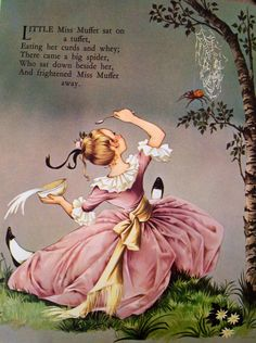 LITTLE MISS MUFFET -Rescued from a Mother Goose book. Illustration by Janet & Anne Grahame Johnstone. Nursery Rhymes Poems, Children's Book Illustration, Book Illustrations, Poetry For Kids, Kids Poems, Vintage Fairies, Rhymes For Kids, Vintage Nursery, Mother Goose