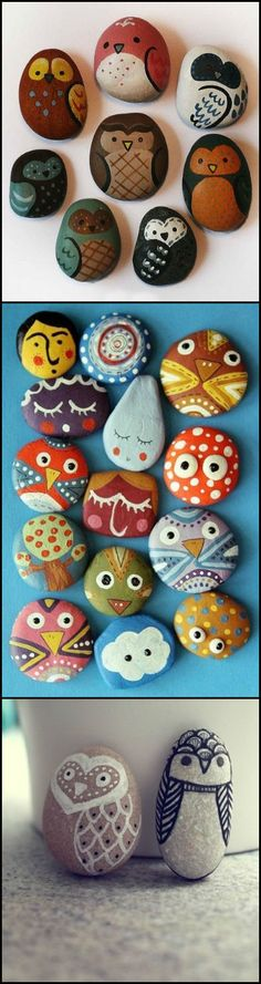 Cute Owl Painted Rocks <3