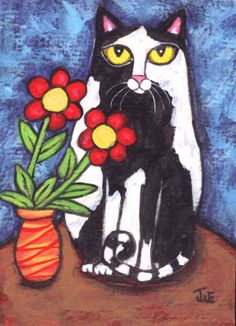 Tuxedo Cat With Flowers Painting at ArtistRising.com