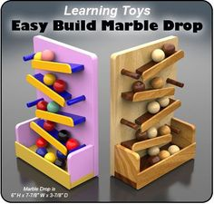 Learning Toys Easy Build Marble Drop Wood Toy Plan Set #woodworkingideas
