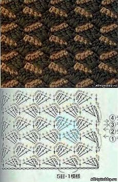 Pattern for knitting by a hook No. 254 - Knitting by a hook. Crochet World, Crochet Art, Crochet Motif, Free Crochet, Crochet Symbols, Crochet Stitches Patterns, Stitch Patterns, Knitting Patterns, Crochet Diagram