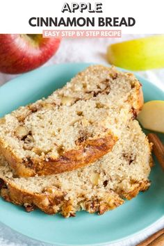 Apple Cinnamon Bread is quick and easy to make from scratch and makes your house smell amazing! Swirled with delicious spiced apples and topped with cinnamon sugar, this quick bread recipe is sure to be a fall favorite. Applesauce Bread, Apple Cinnamon Bread, Apple Bread, Cinnamon Apples, Spiced Apples, Banana Bread, Apple Loaf, Apple Recipes Easy, Quick Bread Recipes