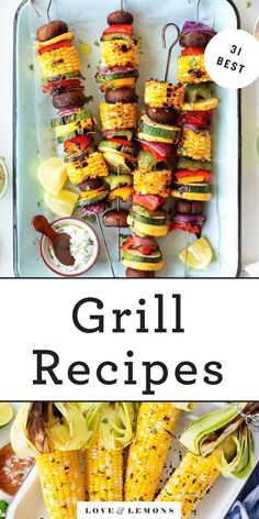 Celebrate summer with these 30  grilling recipes! With appetizers, salads, veggies, mains, and more, you'll find everything you need for any summer dinner, whether it's a backyard barbecue or a fun meal for two. | Love and Lemons #grillingrecipes #bbqrecipes #summer #dinnerideas Yummy Vegetable Recipes, Vegetarian Breakfast Recipes, Healthy Recipes, Vegetarian Dinners, Vegetarian Cooking, Vegan Food, Grilled Watermelon, Grilled Peaches, Best Grill Recipes