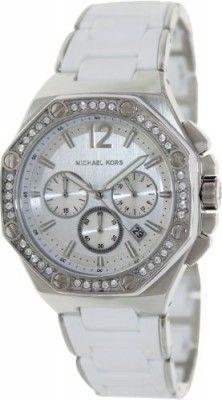 Relógio Michael Kors Women's Stainless Steel Chronograph Quartz Silver Dial Swarovski Crystals Silicone Band #Relógio #Michael Kors