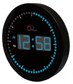 Big LED Clock | This DBTech Digital Circling LED Clock perfect for the office, the home kitchen, family room or dorm room. With a large and sleek design, the DBTech clock has a beautiful display that shows clearly the time with AM and PM indicator lights. Shop at SkyMall.com!