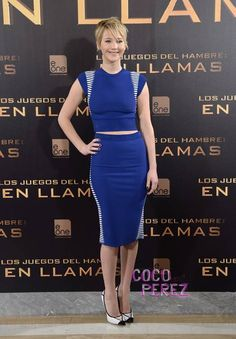 Jennifer Lawrence takes the crop top trend to Madrid for The Hunger Games: Catching Fire photocall.