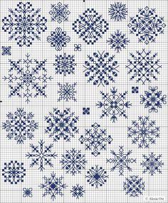 d034a6c51f6 Snowflakes free cross-stitch pattern in blocks