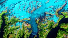 Landsat images: The Columbia Glacier descends the Chugach Mountains into Prince William Sound in Alaska. Landsat allows scientists to monitor the changing fronts of such ice streams.