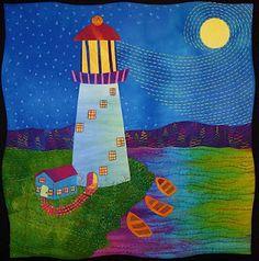 love Laura Wasilowski art quilts, fusing method.  #Lighthouse #needlework