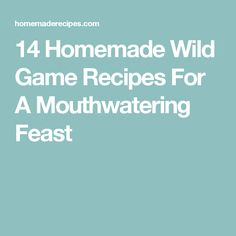 14 Homemade Wild Game Recipes For A Mouthwatering Feast