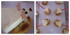 Cute little mice for princess party - cream cheese (Happy Cow brand used), poppy seed eyes, olive bit nose, mortadella ears and a cut sour strap for the tail. Serve on a cracker.