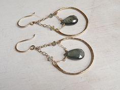 Moss Aquamarine Earrings 14kt Gold Earrings by JooniJewelry