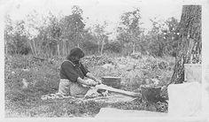 Onana fleshing a deer hide, Mille Lacs, 1925
