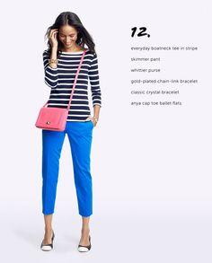 striped tee, cobalt blue pants & ? (not pink)