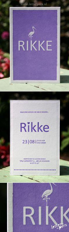 letterpers_letterpress_geboortekaartje_Rikke_paars_vogel_katoen-papier