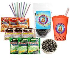 DeDe Instant Boba Tea Kit 9 Drink Packets, Straws & Boba Thai, Milk & Green Tea Latte DeDe & Buddha Bubbles Boba