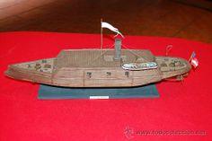 Barco confederado de la Guerra Civil Americana, en resina. Pieza única.