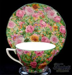 Crown Ducal Pink Chintz Antique Tea Cup