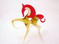 Blown Glass Golden Horse Miniature Sculpture Yellow Figurine Homedecor Murano Collectible gifts Unique Lampwork Boro Toys Horses Handblown