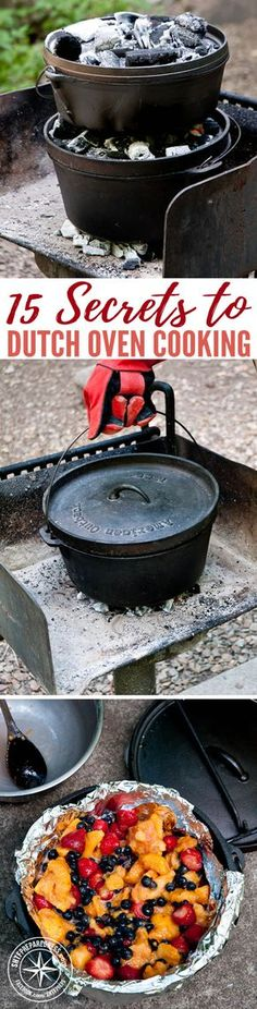 15 Secrets to Dutch Oven Cooking — Cooking with a dutch oven is not only just pure awesomeness, its a great way to have better tasting food. I have to agree that if you have never used or only cooked in one of these for a short amount of time its pretty i Cast Iron Dutch Oven, Cast Iron Cooking, Oven Cooking, Cooking Turkey, Iron Skillet Recipes, Cast Iron Recipes, Dutch Oven Camping, Dutch Oven Campfire Recipes, Camp Oven Recipes
