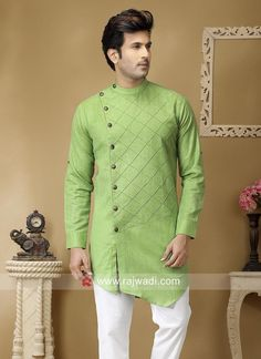 Green Things c green color kurta Gents Kurta Design, Boys Kurta Design, Kurta Pajama Men, Kurta Men, Jubbah Men, Indian Wedding Clothes For Men, Business Casual Attire For Men, Black Outfit Men, Boys Clothes Style
