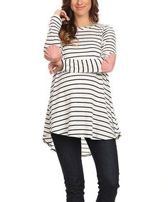 819b16ae10520 Chris & Carol Maternity Chris & Carol Off-White & Pink Stripe Elbow-Patch  Maternity Tunic