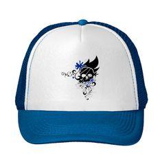 a743bb35 Flower Skull Blue Trucker Snapback Hat Trucker Snapback Hat Royal Blue...  ($20