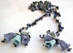 Dark Blue Natural Stone with Blue and Gray Bellflowers Crochet Necklace. $19.99, via Etsy.