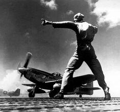 P-51 Mustang taking off from Iwo Jima.