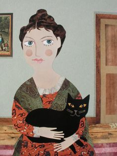 'Morning Caller: Lady With a Cat' (Cut paper collage) by Amanda White www.amandawhite-contemporarynaiveart.com