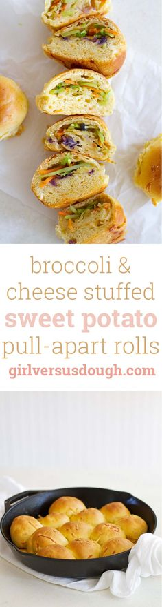 Broccoli and Cheese Stuffed Pull-Apart Sweet Potato Rolls -- Easy and delicious skillet rolls filled with fresh veggies and melted cheese. Easy Appetizer Recipes, Snack Recipes, Snacks, Bread Recipes, Baking Recipes, Easy Recipes, Breakfast Recipes, Appetizers, Sweet Potato Rolls