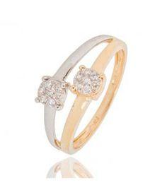 Bague or diamant bicolore duo de solitaire vous et moi
