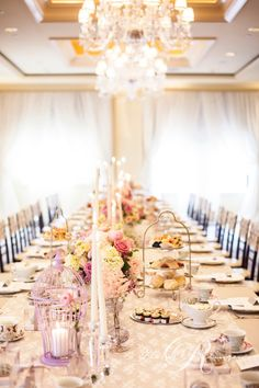 Elegant decor at a high tea wedding reception