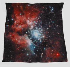 Nebula-printed silk scarf.