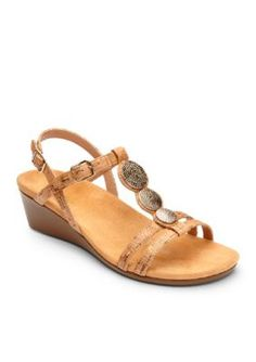 Orthaheel Gold Cork Noleen T-Strap Demi Wedge