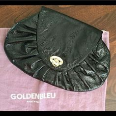 Goldenblue black patent leather clutch Quite roomy and uber versatile.  In excellent condition.  Comes with dust bag. Suede lining. 6297 Goldenblue  Bags Clutches & Wristlets